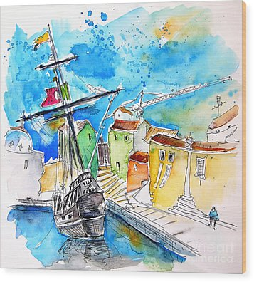 Conquistador Boat In Portugal Wood Print by Miki De Goodaboom