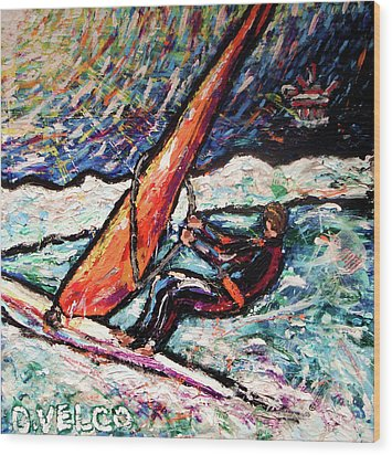 Conscience Surfer Wood Print by Dennis Velco