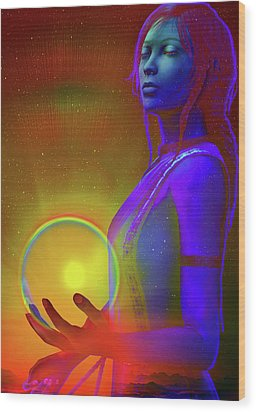 Wood Print featuring the digital art Consciousness by Shadowlea Is