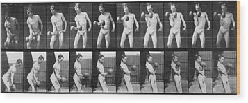 Consecutive Images Of Man Lifting Wood Print by Everett