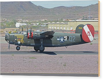 Wood Print featuring the photograph Consolidated B-24j Liberator N224j Witchcraft Deer Valley Arizona April 13 2016 by Brian Lockett