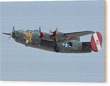 Wood Print featuring the photograph Consolidated B-24j Liberator N224j Witchcraft Phoenix-mesa Gateway Airport Arizona April 15 2016 by Brian Lockett