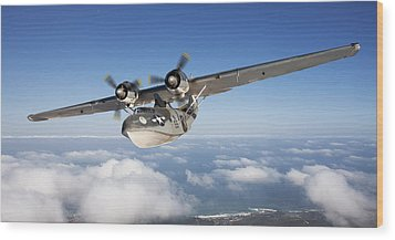 Consolidated Pby Catalina Wood Print by Larry McManus