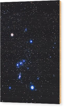 Constellation Of Orion With Halo Effect Wood Print by John Sanford