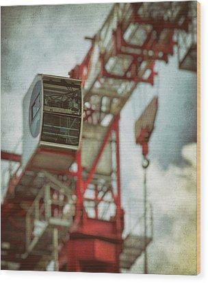 Construction Crane Wood Print by Wim Lanclus