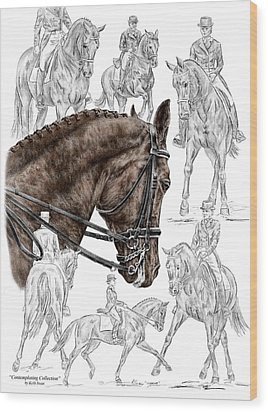 Contemplating Collection - Dressage Horse Print Color Tinted Wood Print