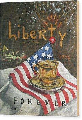 Contemplating Liberty Wood Print by Cheryl Pass