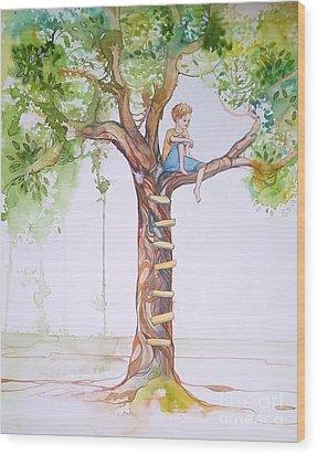 Contemplation Wood Print by Maya Simonson
