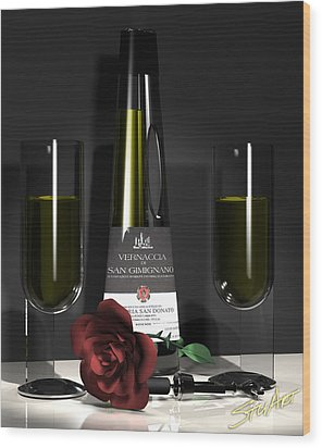 Contempoary Wine And Roses Wood Print