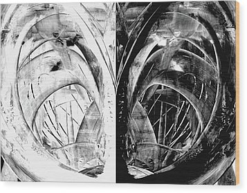 Contemporary Art - Black And White Embers 1 - Sharon Cummings Wood Print by Sharon Cummings