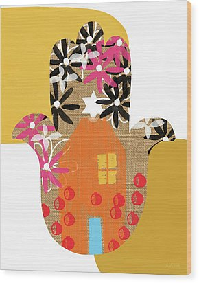 Wood Print featuring the mixed media Contemporary Hamsa With House- Art By Linda Woods by Linda Woods