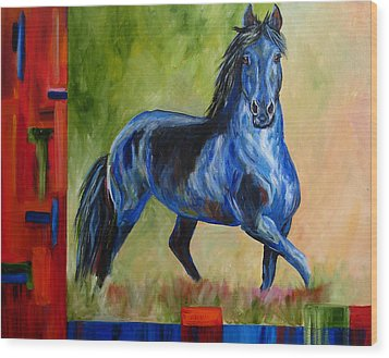 Contemporary Horse Painting Fresian Wood Print