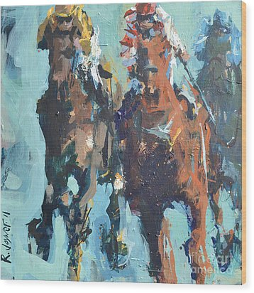 Contemporary Horse Racing Painting Wood Print by Robert Joyner
