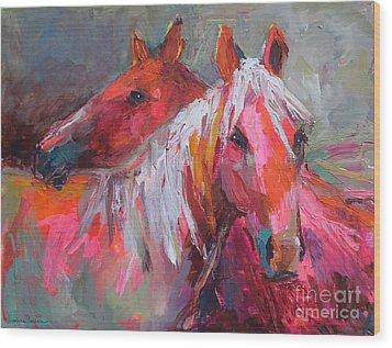 Contemporary Horses Painting Wood Print by Svetlana Novikova