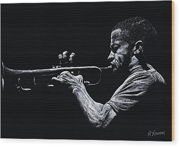 Contemporary Jazz Trumpeter Wood Print by Richard Young