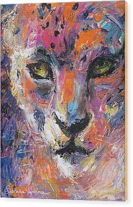contemporary Wildlife painting cheetah leopard  Wood Print by Svetlana Novikova