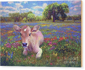 Contented Cow In Colorful Meadow Wood Print