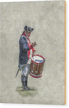 Wood Print featuring the digital art Continental Army Drummer American Revolution by Randy Steele