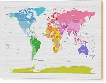 Continents World Map Large Text For Kids Wood Print by Michael Tompsett