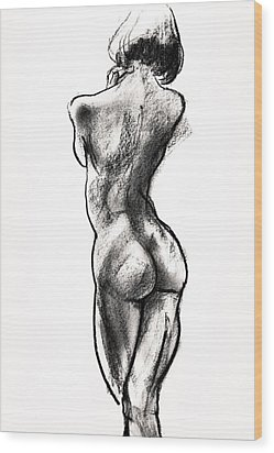 Contra Posta Female Nude Wood Print by Roz McQuillan