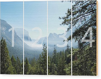 Controlled Burn Of Yosemite Panoramic Map Wood Print by Michael Bessler
