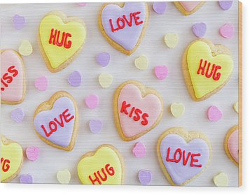 Wood Print featuring the photograph Conversation Heart Cookie Love by Teri Virbickis