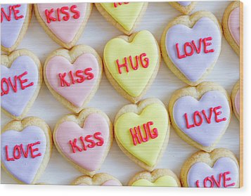 Wood Print featuring the photograph Conversation Heart Decorated Cookies by Teri Virbickis
