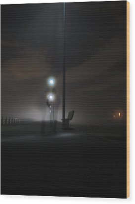 Wood Print featuring the photograph Conversation In The Mist by Digital Art Cafe