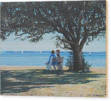 Conversation In The Park Wood Print