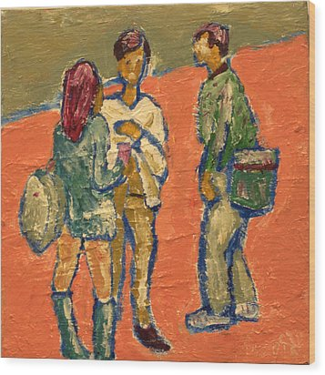 Conversation On Campus Wood Print by Clarence Major