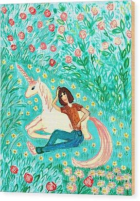 Conversation With A Unicorn Wood Print by Sushila Burgess