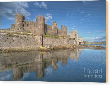 Conwy Castle Wood Print by Adrian Evans