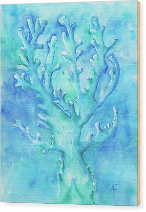 Wood Print featuring the painting Cool Blue Coral by Arthur Fix