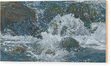 Cool Blue Wood Print by Nadi Spencer