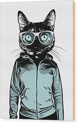 Wood Print featuring the mixed media Cool Cat by Nicklas Gustafsson