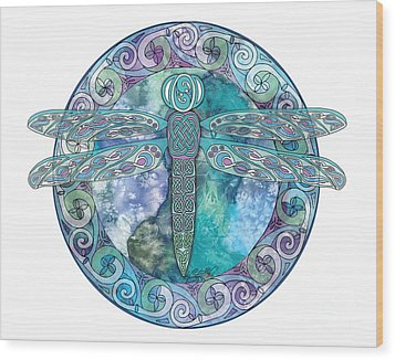 Wood Print featuring the mixed media Cool Celtic Dragonfly by Kristen Fox