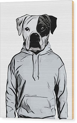 Wood Print featuring the painting Cool Dog by Nicklas Gustafsson