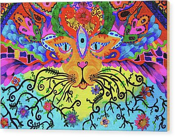 Cool Kitty Cat Wood Print by Marina Hackett