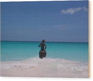 Wood Print featuring the photograph Cool Off Man by Mary-Lee Sanders
