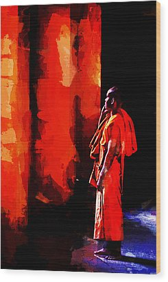 Wood Print featuring the digital art Cool Orange Monk by Cameron Wood