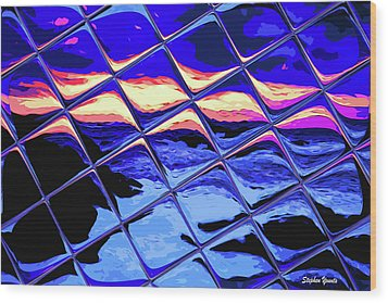Cool Tile Reflection Wood Print by Stephen Younts
