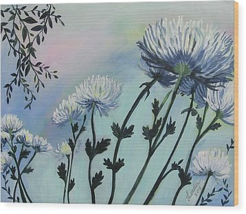Cool White Spider Mums Wood Print