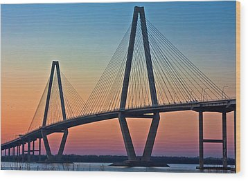Cooper River Bridge Sunset Wood Print by Suzanne Stout