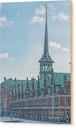 Wood Print featuring the photograph Copenhagen Borsen Stock Exchange Building by Antony McAulay
