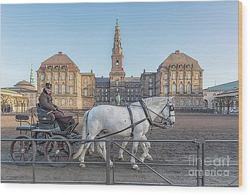 Wood Print featuring the photograph Copenhagen Christianborg Palace Horse And Cart by Antony McAulay