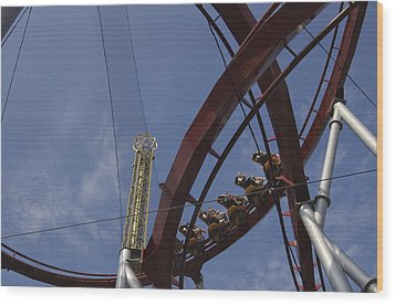 Copenhagen, Denmark, Rollercoaster Ride Wood Print by Keenpress
