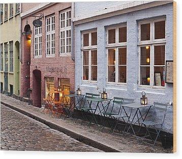 Copenhagen Patio Wood Print by Rae Tucker