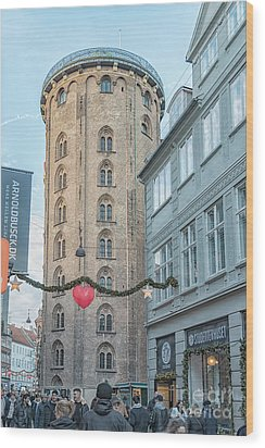 Wood Print featuring the photograph Copenhagen Round Tower Street View by Antony McAulay