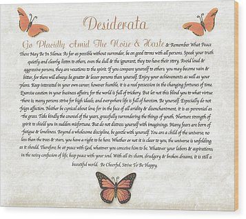 Copper Butterfly Desiderata Wood Print by Desiderata Gallery
