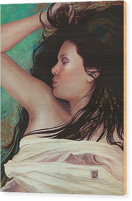 Wood Print featuring the painting Copper Dreamer by Ragen Mendenhall